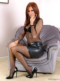 Skirt mature stockings leather